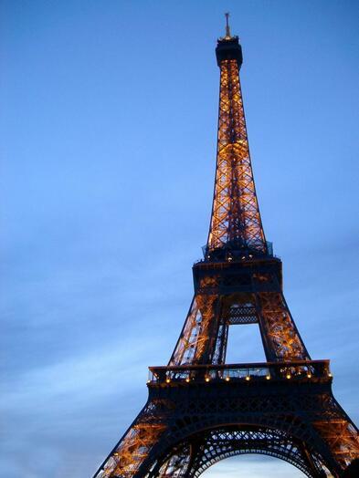 Eating dinner in Paris